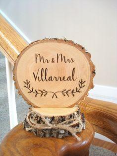 Rustic Wedding Cake Top, Laurel Cake Topper, Cake Topper, Rustic Wedding, Mr & Mrs Cake Topper, Custom Cake Topper, Engraved Cake Topper by SweetHomeWoods on Etsy https://www.etsy.com/listing/506373332/rustic-wedding-cake-top-laurel-cake
