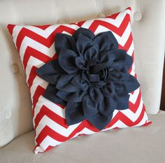 Navy Blue Dahlia on Red and White Zigzag Pillow by bedbuggs