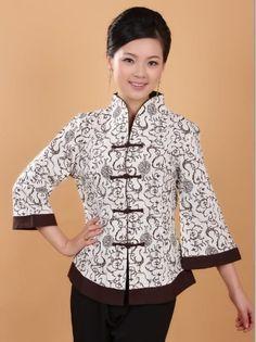 Chinese Women's Tops Dress T-Shirt Cheongsam Beige Size 8 10 12 14 16