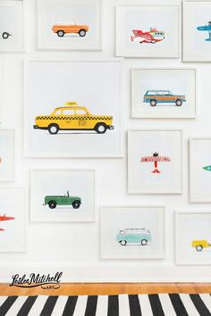 original Matchbox Car Series from Leslee Mitchell Art. Car prints / for boy nursery ideas, big boy room, kids decor, playroom wall art. Childrens Room, Baby Poster, Kids Interior, Interior Design, Car Prints, Kids Prints, Wal Art, Kids Bedroom, Room Kids
