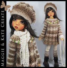 """** OOAK BROWNS ** Outfit for Kaye Wiggs 18"""" MSD BJD by Maggie & Kate Create"""