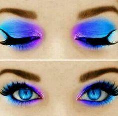 Eye make-up in violett and blue Fairy Makeup, Makeup Art, Makeup Tips, Makeup Ideas, Makeup Tutorials, Mermaid Makeup, Makeup Hacks, Purple Makeup, Pretty Makeup