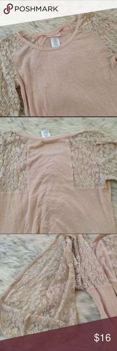 Peach Lace Top Open sleeve. Lace sleeves and back of shoulders. Excellent condition Crush by abc Family Crush Tops