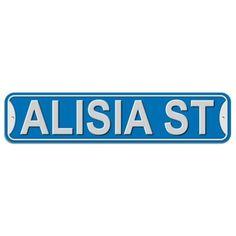 Alisia Street - Blue - Plastic Wall Sign