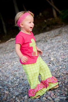 Girls Ruffle Pant Set  Toddler outfit  Double by aHouseintheWoods, $38.00