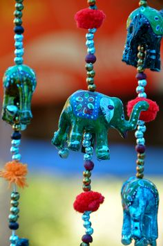 Blue elephants 'n beads, great for the door to hang