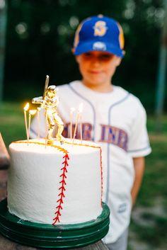 Baseball cake topped