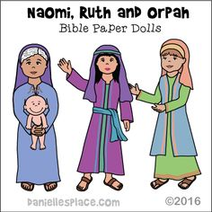 Naomi, Obed, Ruth, and Orpah Paper Dolls