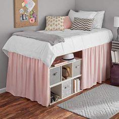 Mainstays Extra Long Extended Dorm Bed Skirt, 1 Each Dorm Room Storage, Dorm Room Organization, Under Bed Storage, Organizing Dorm Rooms, College Dorm Organization, Dorm Bed Skirts, Dorm Room Bedding, Bedding Sets, Dorm Room Headboards