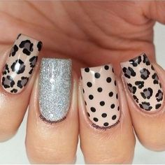 Leopard print nails - would be fun with gold glitter accent nail Fabulous Nails, Gorgeous Nails, Get Nails, Hair And Nails, Leopard Print Nails, Leopard Prints, Cheetah Nail Designs, Leopard Nail Art, Animal Nail Art