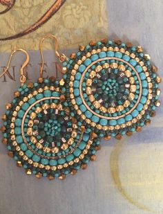 Turquoise and Gold Seed Beaded Earrings - Big Bold Multicolored Disc Earrings by WorkofHeart on Etsy Big Earrings, Seed Bead Earrings, Crystal Earrings, Seed Beads, Hoop Earrings, Perler Beads, Star Jewelry, Beaded Jewelry, Handmade Jewelry