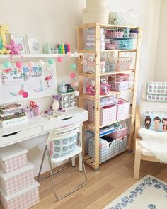 pretty pastel craft room