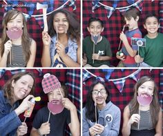 camping photo booth props with lots of plaid