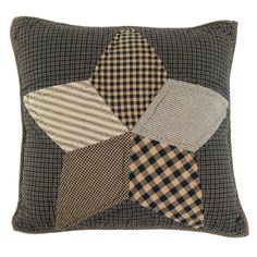 Farmhouse Star Pillow Cover Quilted 16x16