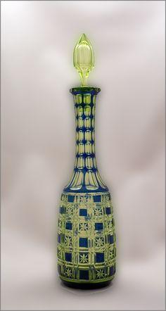 Bohemian Crystal Cobalt Cut to Vaseline Glass Decanter  Stunning cut crystal glass decanter.