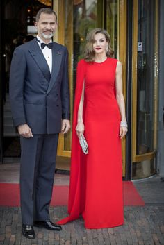 Letizia in red Chloe gown with cape