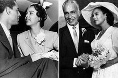"""À esquerda: Dorothy Dandridge com Billy Brown em """"The Harlem Globetrotters"""" (1951). À direita: com o marido, Jack Denison, 1959."""