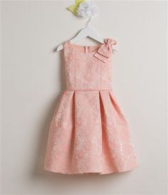 Pink Rose Jacquard with Shoulder Bow Dress from Sweet Kids Style #sk554