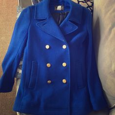 JCrew Peacoat Royal Blue Wool Peacoat. Great condition. Gold buttons. J. Crew Jackets & Coats Pea Coats