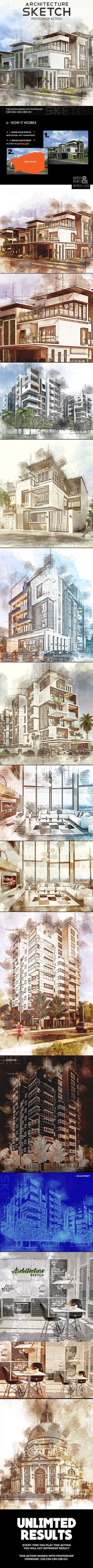 Architecture Sketch Photoshop Action — Photoshop ATN #artistic #hand drawn • Available here ➝ https://graphicriver.net/item/architecture-sketch-photoshop-action/20891106?ref=pxcr