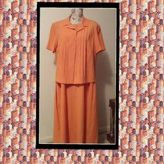 Orange colored spring dress Tank top style dress with matching short sleeve jacket.  Long length with slit in the back.  Wear jacket opened or buttoned up.  Size 18 women's petite. J.T.Collections Dresses