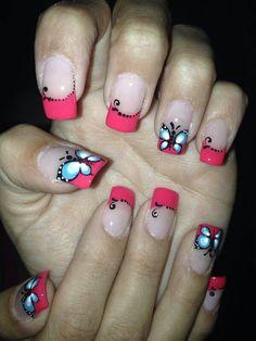 mariposas Fingernail Designs, Cool Nail Designs, Butterfly Nail Designs, Pink Acrylic Nails, Gorgeous Nails, Jamberry, Fun Nails, Girly, Nail Art
