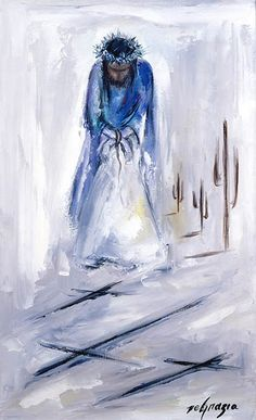 "While living in Italy as a small child DeGrazia was exposed to the art of the Catholic Church. Although he never formally participated in church life, this particular series of paintings reflect a deep reverence for all things religious. Instead of the traditional 14 Stations of the Cross, DeGrazia's collection culminates with the resurrection. ""I never thought the cycle would be completed unless we had the 15th station where Jesus arises in glory."" Station I Jesus is condemned to death."