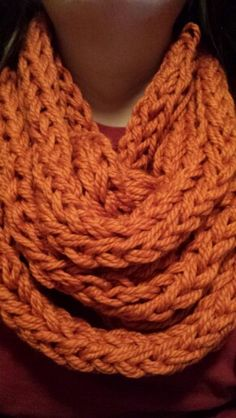 Double finger knit infinity scarf for a thicker and more chunky look. $15 at Ainsley Designs on Etsy