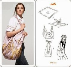 We love furoshiki so much. Even Hermes has realized the wonders of furoshiki and included the instruction in their scarf packaging. How To Make Scarf, How To Wear Scarves, Tie Scarves, Hermes Scarves, Do It Yourself Fashion, Hippie Bags, Diy Clothing, Square Scarf, Refashion