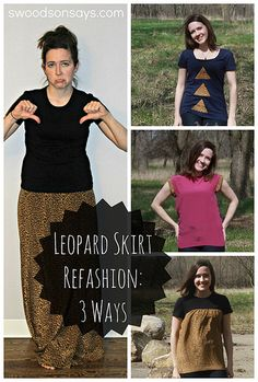 Maxi Skirt Refashion Three Ways - Take a dated leopard print skirt and make three different (cute!) projects
