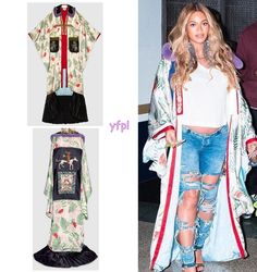 Beyoncé heading to NBA All Star Game last night wearing GUCCI Embroidered Tiger Print Silk Kimono ($21,945)