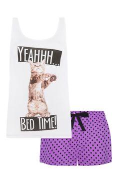 Primark - Pyjamaset mit Shirt und Shorts, Katzenmotiv