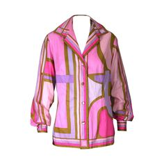 Emilio Pucci Pastel Cotton Blouse   From a collection of rare vintage blouses at https://www.1stdibs.com/fashion/clothing/blouses/