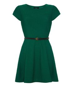 Love this Green Belted Fit & Flare Dress