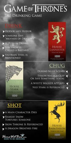 Liquor is coming. A Game of Thrones Drinking Game