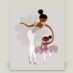 Ballerina Mother and Daughter - African American Art Print by JeanieNelson on BoomBoomPrints