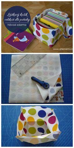 Návod na ušití látkového košíku. Purse Wallet, Diy For Kids, Sewing Crafts, Sewing Ideas, Baby Gifts, Sunglasses Case, Lunch Box, Projects To Try, Organization