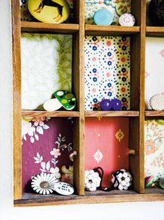 Recycled drawer with wallpapers