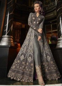 Grey All With Golden Embroidered Lehenga/Pant Suit features embroidery work with minimalist modern art detail annotated beautifully with the combination of resham zari, thread and stone work on its flared anarkali net top Indian Gowns Dresses, Indian Fashion Dresses, Indian Designer Outfits, Pakistani Dresses, Indian Outfits, Designer Dresses, Bridal Anarkali Suits, Eid Dresses, Trajes Anarkali