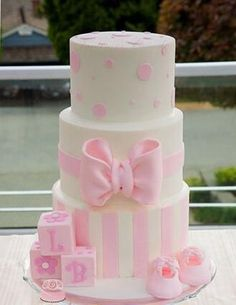 Pink Bow Tiered Cake
