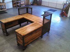 Custom Reception Desk Reclaimed Wood Steel Work Statio Flickr