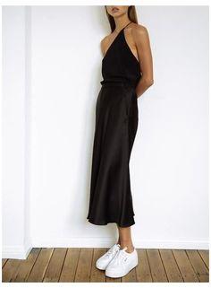 Slip Dress Outfit, Christopher Esber, Slip Skirts, Mid Length Skirts, Gala Dresses, Dress With Sneakers, Satin Skirt, Skirt Fashion, High Fashion
