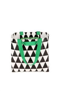 Great for swimming lessons, market shopping, sports gear, overnight stays  Size: 62cm Wide 42cm High  Soft Woven Shoulder and Hand Straps  Handy Internal Zip Pocket 25cm Wide 20cm High  Light Durable Polypropylene Plastic  Folds to A4 Size  http://littleshopof.bigcartel.com/product/black-triangle-tote