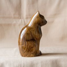 Wooden Cat Statue Wooden Cat Figurine Wood by UkrainianWoodsCarvin