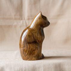 Wooden Cat Statue Wooden Cat Figurine Wood by UkrainianWoodsCarvin