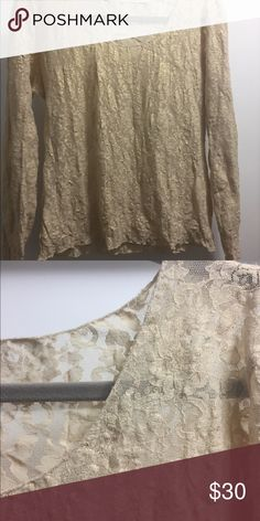 Hanky Panky gold long sleeved shirt Beautiful shirt, perfect for layering in spring, summer or fall. Dress up or down! Hanky Panky Tops Tees - Long Sleeve