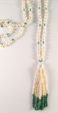"Individually Knotted Freshwater Pearl & Green Crystal About 34"" Tassel Necklace #Unbranded #Tassel"