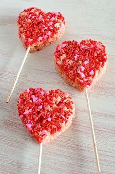 Valentine's Day Rice Crispy Treat Pops #ValentinesDayParty