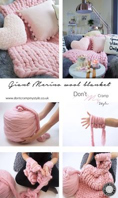 DIY giant merino wool chunky blanket throw tutorial