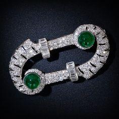 Diamond and Cabochon Emerald Art Deco Brooch - 50-91-91 - Lang Antiques